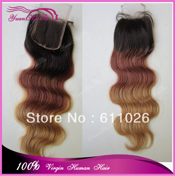 "Aliabba Hot selling 20""#1b/33/27 three tone color ombre brazilian hair closure 100% human hair lace closures"