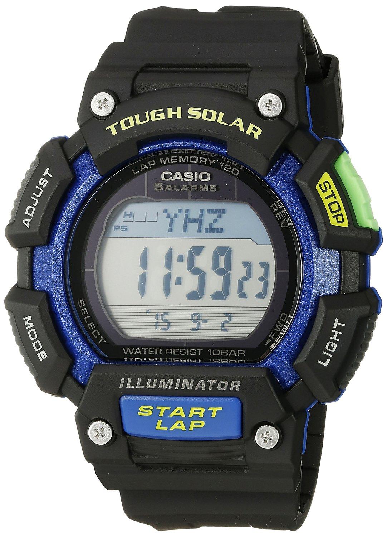 e8fd0f8cf Get Quotations · Casio Men's STL-S110H-1BCF Tough Solar Runner Digital  Black and Blue Watch