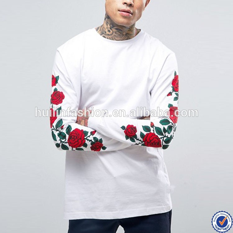 126fa431855 custom t shirt printing for men plain white long sleeve rose printed t  shirts