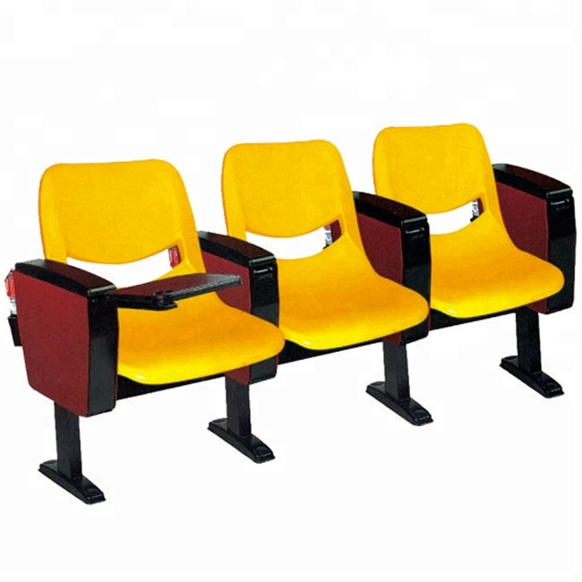Cheap Auditorium Chair with Writing Table Lecture Room Plastic Theater Seating Chairs Outdoor