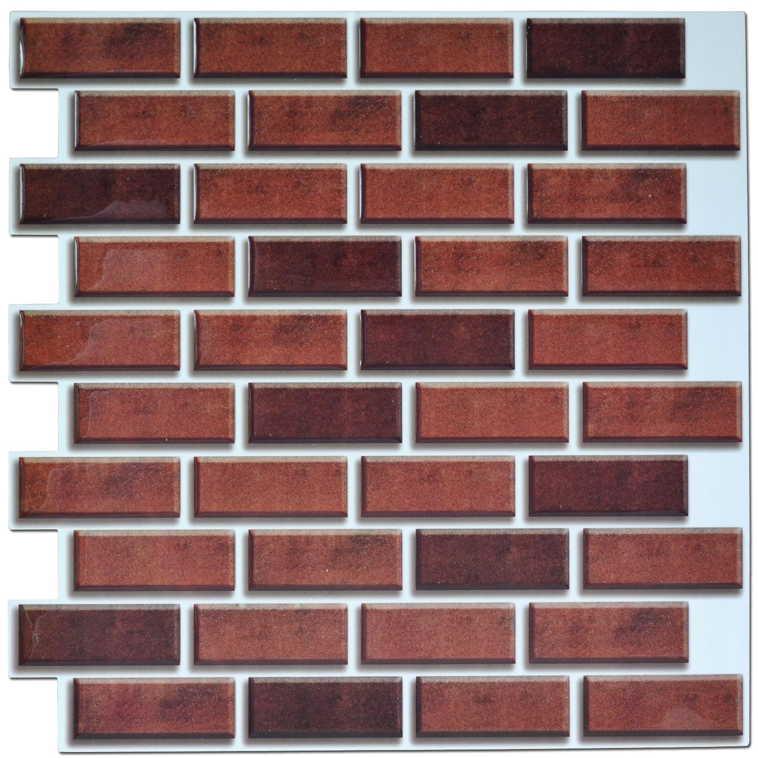 - 3d Smart Wall Tiles - Metro Brick Effect Smart Tiles Lowes - Buy Red