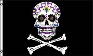 3'x5' SUGAR SKULL Mexican Pirate Flag, day of the dead by Sugar Skull