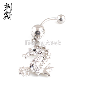 Surgical Steel Fish Dangle Navel Piercing Belly