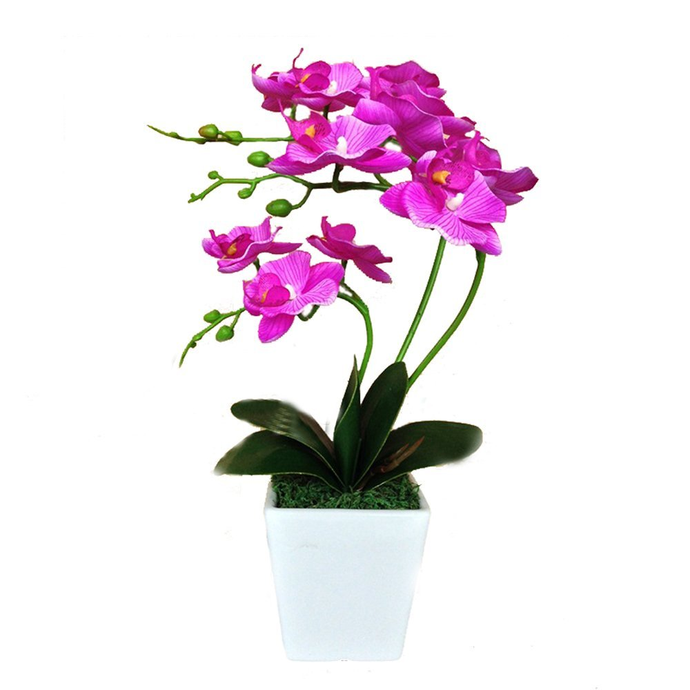 DKX-SH Nearly Natural Phalaenopsis Silk Orchid Flower Arrangement Artificial Flower Plants Home Wedding Decor Butterfly Orchid