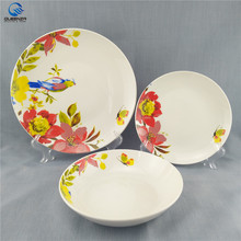 12pcs ceramic porcelain dinner set with elegant flower design