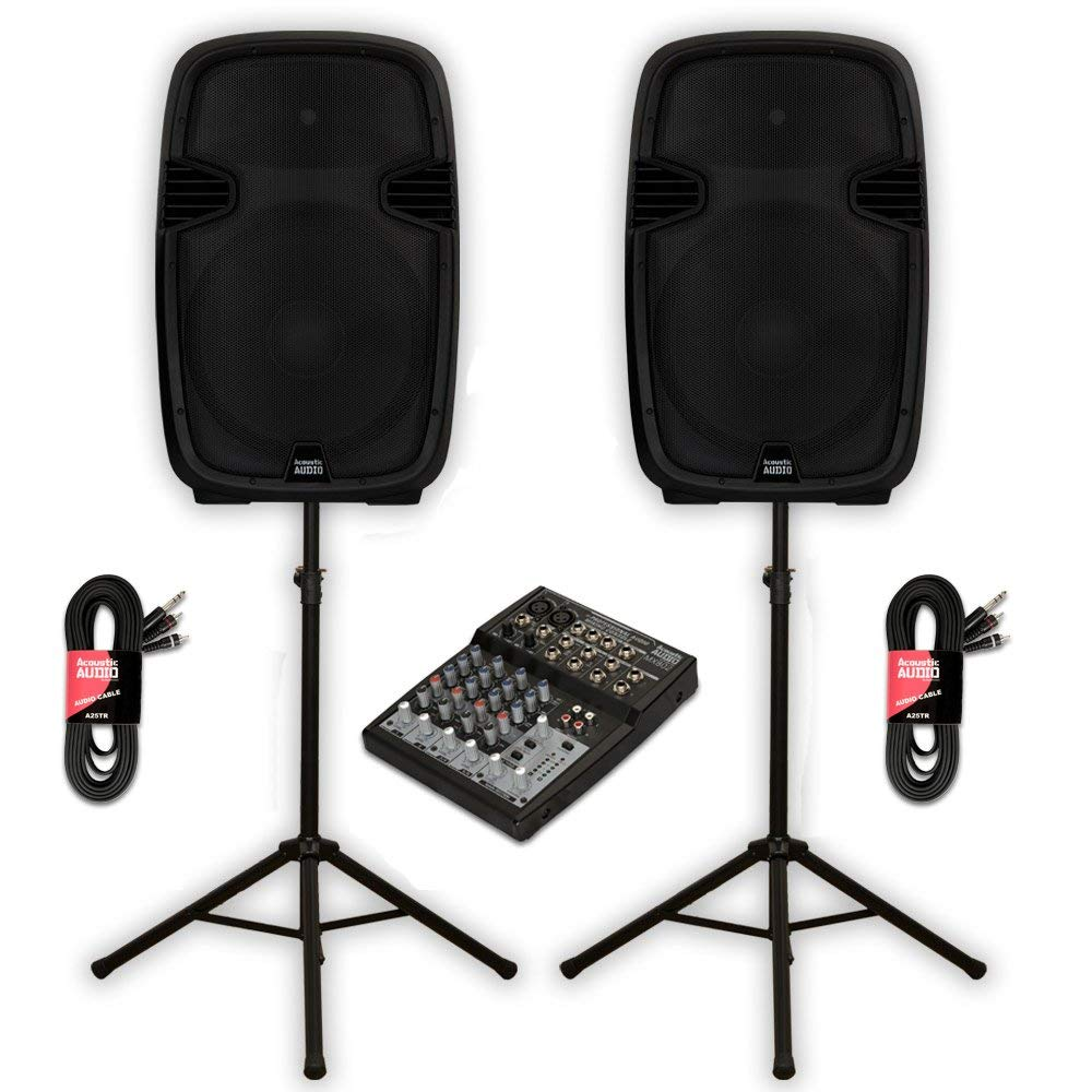 "Acoustic Audio AA152U Powered 15"" Speaker Pair 1800 Watts 2 Way USB MP3 with Mixer and Stands"