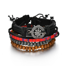 Hot Selling Retro <span class=keywords><strong>Kompas</strong></span> Lederen <span class=keywords><strong>Armband</strong></span> Hand Geweven Multi-layer Mannen Armbanden