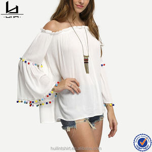 wholesale clothing miami off the shoulder colored pompom trim women tops blouse