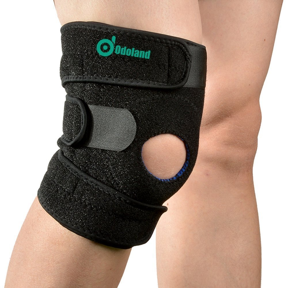 446f09afba Get Quotations · Knee Brace, ODOLAND Breathable Non-slip Knee Brace with  Patella Stabilizer Kneecap Support,