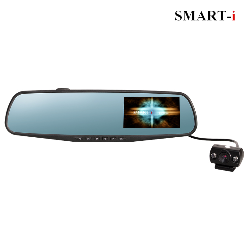 H.264 compression ratio/ G-sensor Dual lens Rear-view mirror car DVR