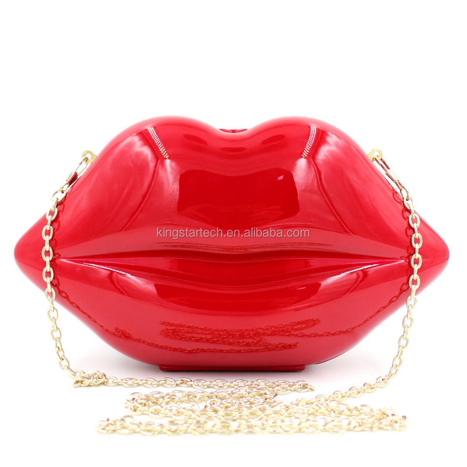2017 Hot Sale Korean Style Lips Shape Evening Clutch Party Bag For Ladies