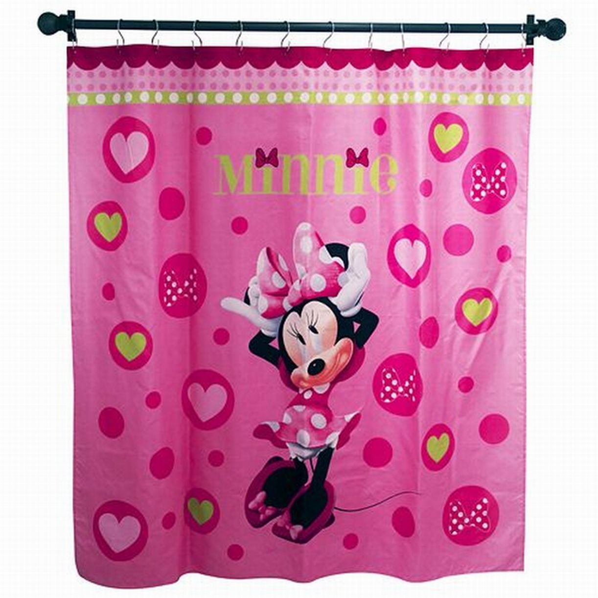 Get Quotations Disney Minnie Mouse Pink Hearts Microfiber Shower Curtain Kids Bath