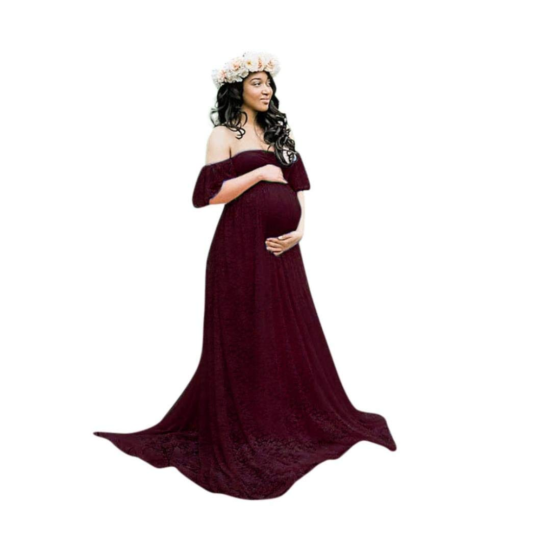 9b1edffe11c64 Get Quotations · WensLTD Pregnant Dress,Fashion Womens Pregnants Floral  Lace Photography Fly Sleeves Off Shoulder Long Dress