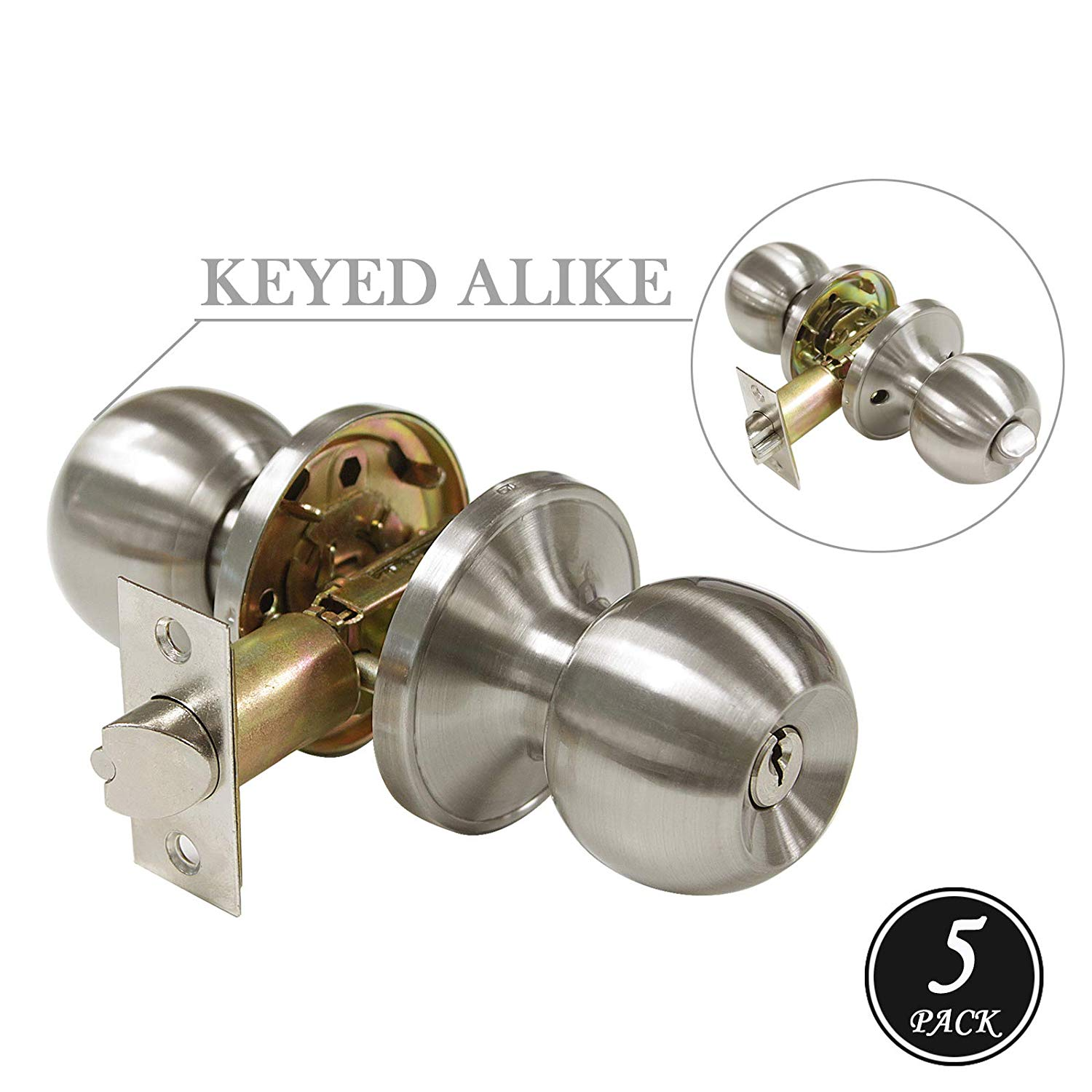 Knobonly 607 Stainless Steel Ball Satin Nickel Finish Door Knobs (5 Pack, Keyed Alike Entry Door Knobs)