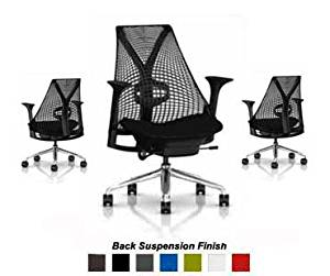 Herman Miller Sayl Chair Home Office Desk Task Chair - Adjustable + Lumbar Support SAYL Aluminum Chrome Work Chair with Fully Adjustable Black Arms, Tilt Limiter and Forward Seat Angle, Adjustable Seat Depth, Black Y-Tower Back and Aluminum Base, Adjustable Lumbar Support, Black Back Rest