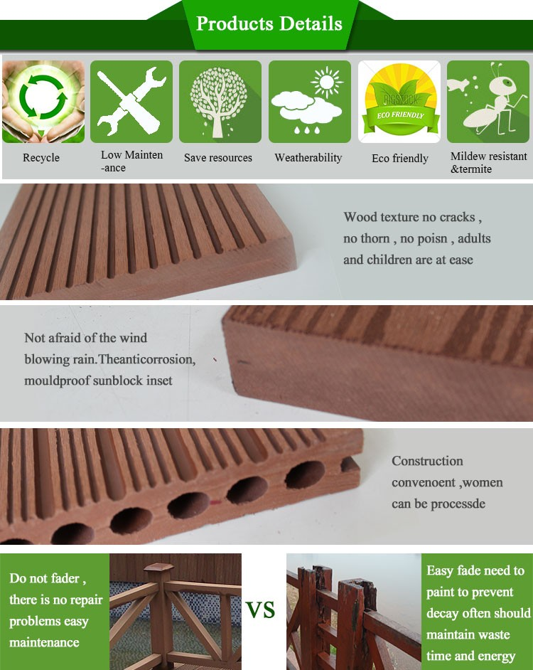 Outdoor wpc wood and plastic composite decking