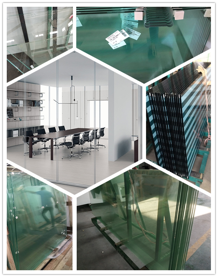 Wooden office partition wall Frameless Glass Partition