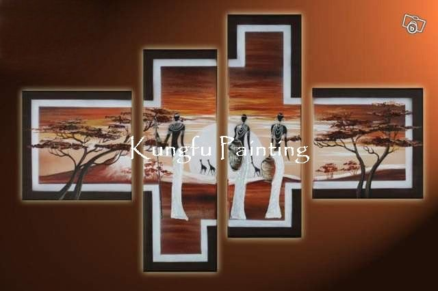 100% hand painted discount 4 panel <font><b>african</b></font> canvas art framed wall art <font><b>decoration</b></font> <font><b>home</b></font> high quality unique gift