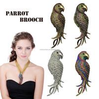 4 Colors Optional Stunning Crystal Rhinestone Parrot Brooch Pin Animal Fashion Jewelry Big Size brooch