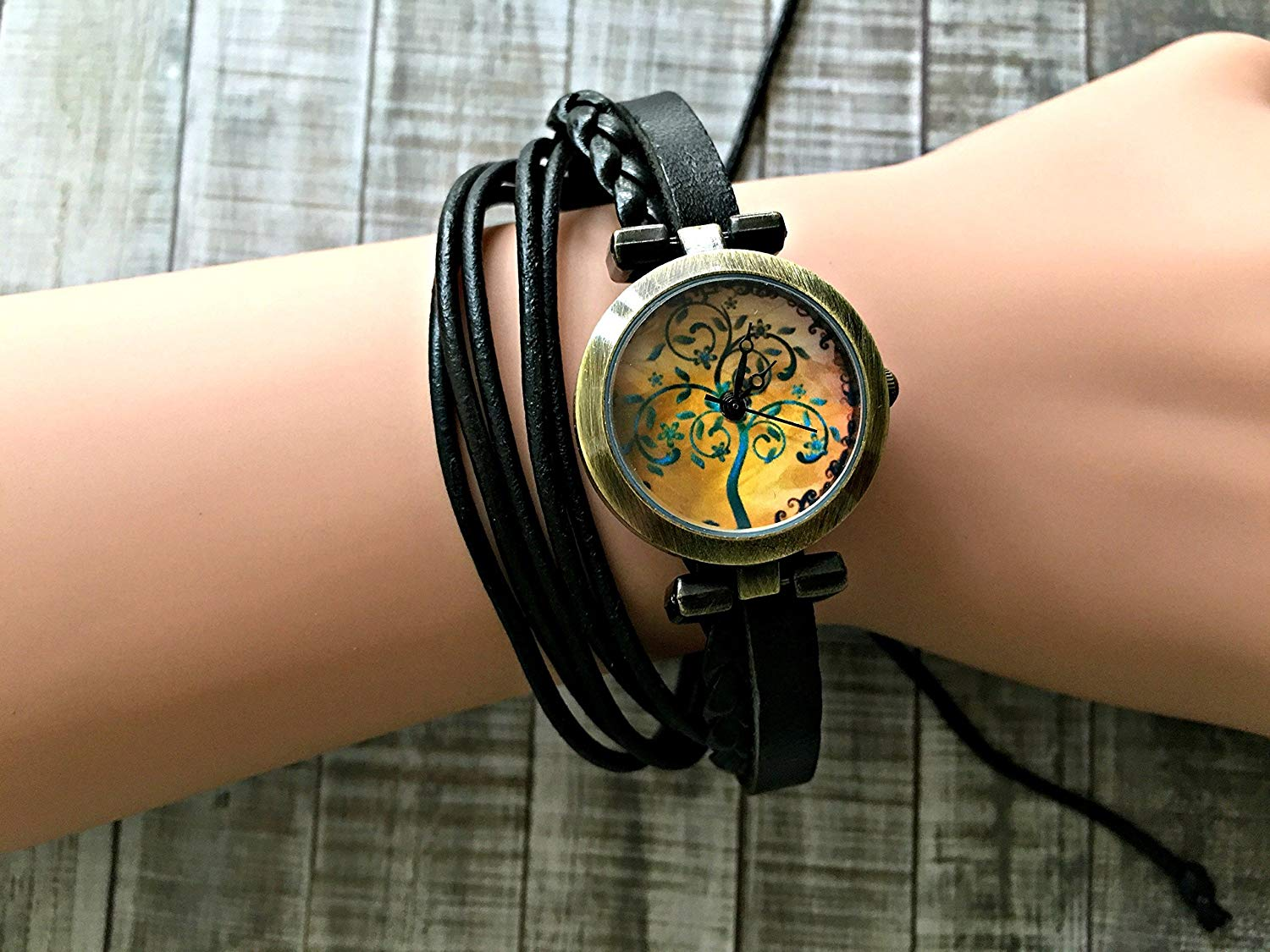 Tree Wrap Bracelet Leather Watch, Leather Wrap Bracelet Watch, Leather Wrap Art Watch, Vintage Retro Wrap Bracelet Watch, Wrap Genuine Leather Watch 009