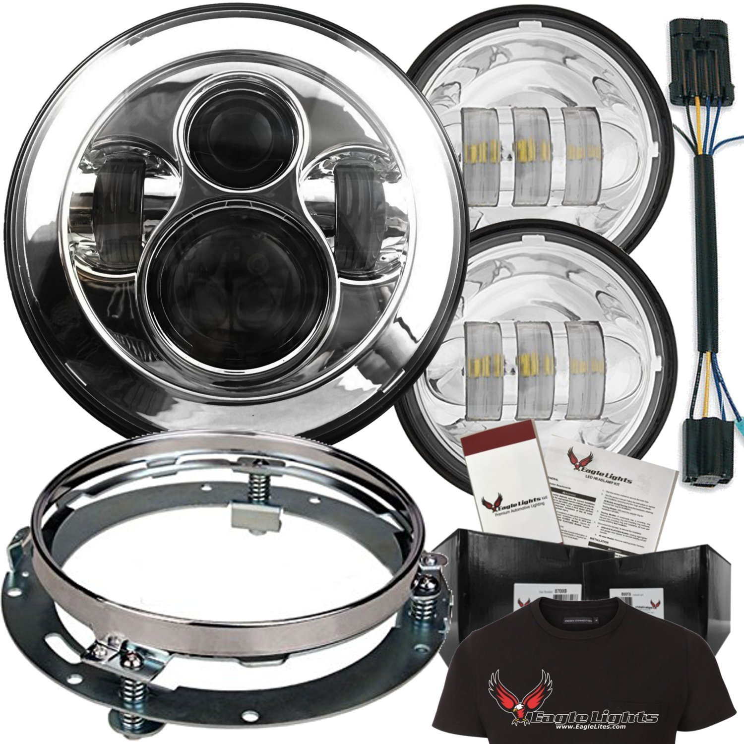 """Eagle Lights 7"""" Round LED Headlight Kit 8700 Daymaker with Matching Passing Lights Adapter Ring, Adapter Plug and Free T-Shirt (Chrome)"""