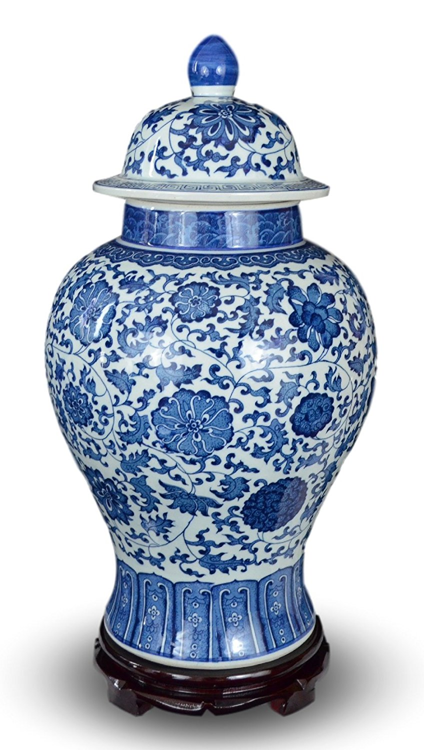 "20"" Classic Blue and White Porcelain Floral Temple Jar Vase, China Ming Style, Jingdezhen, Free Wood Base"