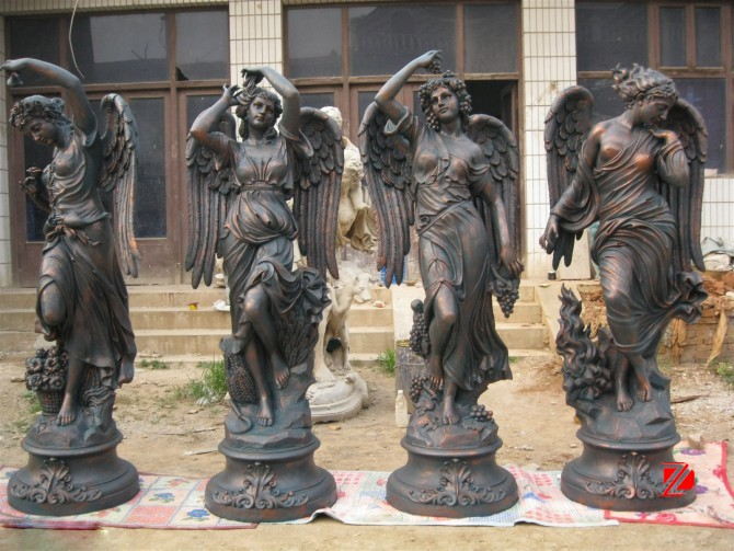 Bronze female large winged angel statues