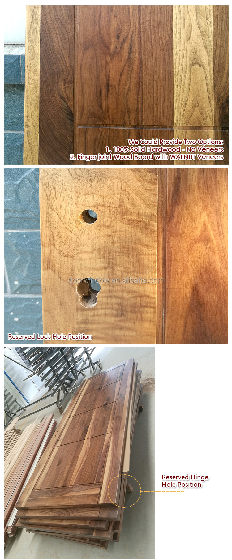 Order from china direct main door frame designs natural color black walnut hinged door import from China