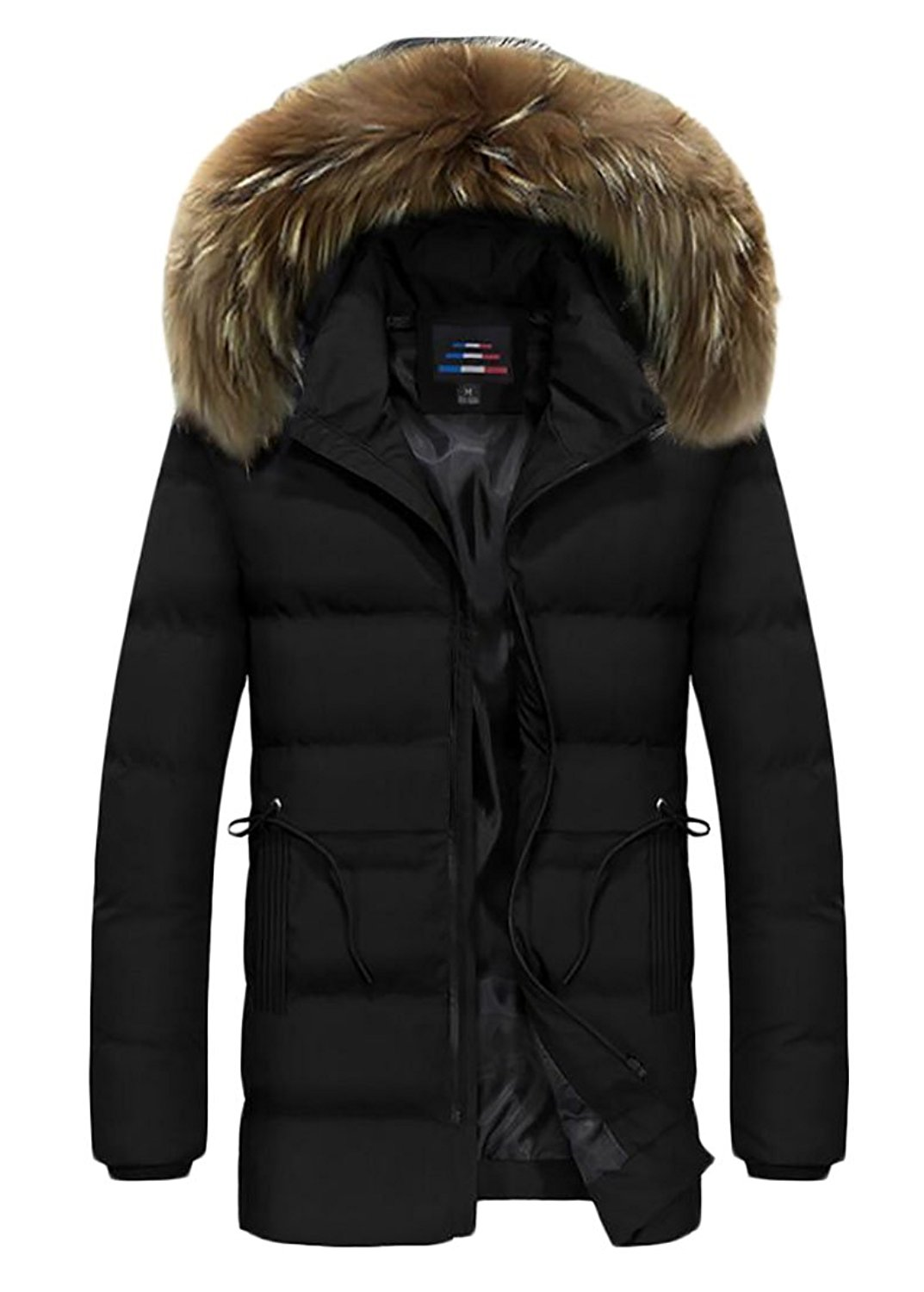 XQS Men Faux Fur Hooded Winter Cotton Long Thick Puffer Jacket Silm Fit Overcoat