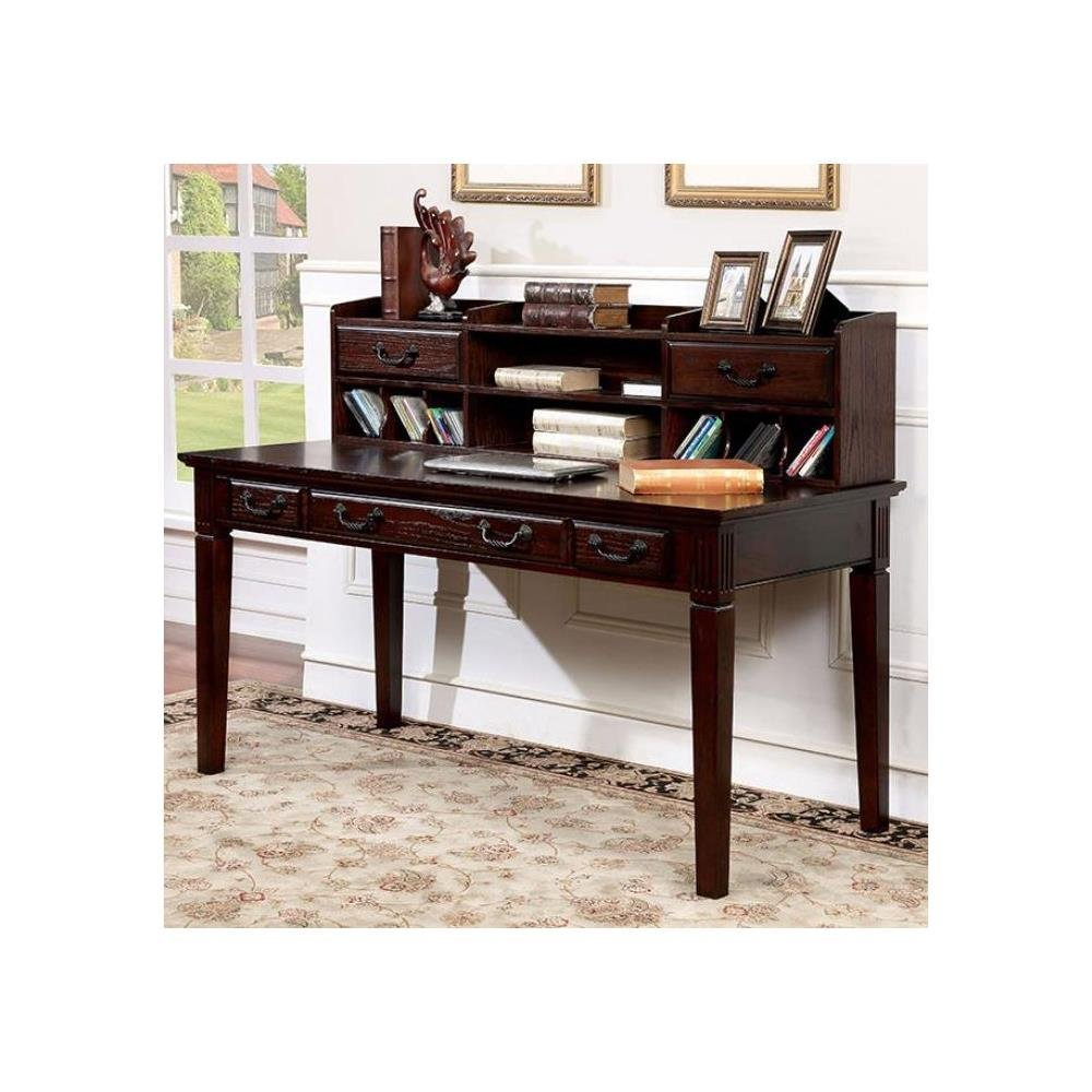 Get Quotations Fa Furnishing Home Office Leigh Writing Desk With Hutch In Dark Walnut Wood