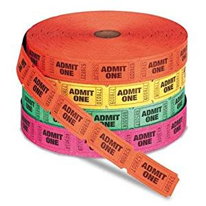 """Pm Company - 2 Pack - Admit One Single Ticket Roll Numbered Assorted 2000 Tickets/Roll """"Product Category: Labels Indexes & Stamps/Tags & Tickets"""""""
