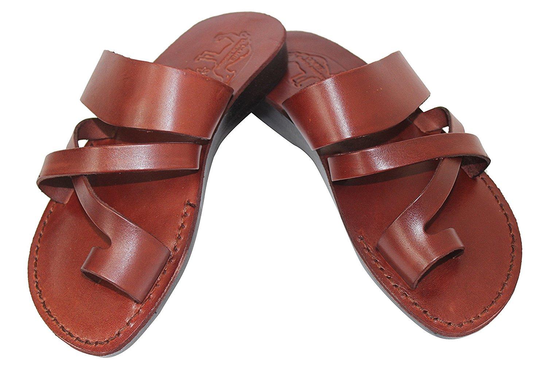 b114d942f238f5 Get Quotations · HalleluYAH Unisex Genuine Biblical Leather Sandals   Flip  Flops