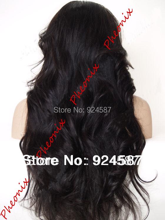 Бесплатная доставка мода горячая распродажа естественная волна естественный черный жаропрочных волос синтетический перед парики для женщин / Flora-22.3M