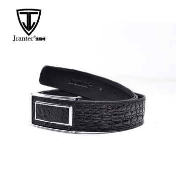 New Arrival OEM High End Fashion Mens Black Genuine Crocodile Leather Belt