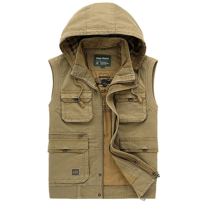 Plus velvet hooded jacket Multi-Pocket Outdoor Waistcoat Jungle Winter Shoot Men vest Warm Jacket 2015 Brand Army vest Luxury