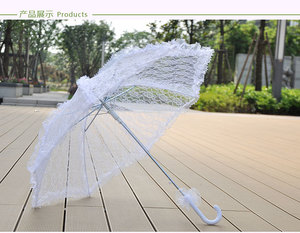 2018 Romantic Wedding Lace Umbrella Wedding White Parasol