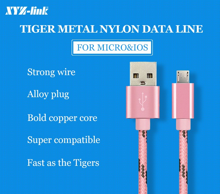 Fast charging mobile phone data cable braided micro usb cable