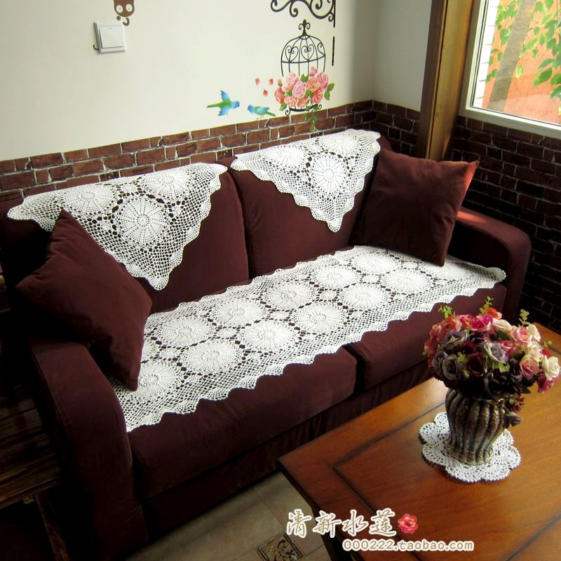 2017 Fashion Design Cotton Crochet Lace Sofa Cover Handmade Three Dimensional Flower Set Towel For Tablecloth In From Home