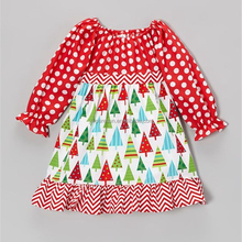 Boutique wholesale frock design kid clothes cotton christmas tree party girl wear dresses