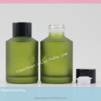 New style! 30ml essential oil dropper bottles 30 ml green frosted glass bottle with reducer and black cap for oils