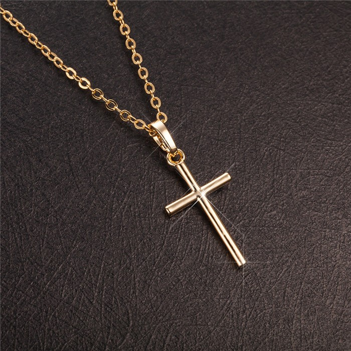 Fashion metal copper alloy 18k gold white gold cross necklace