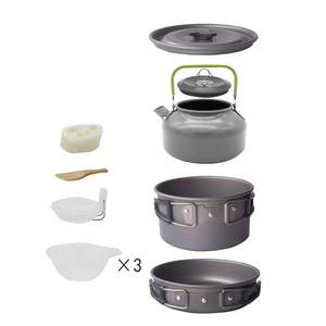 2-3 Person Aluminium Alloy Camping Cooking Utensils Set Outdoor Cookware