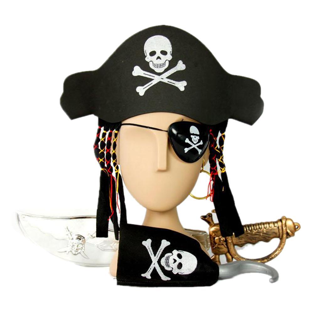 Disfruta de la fiesta de disfraces con ellos. Contenido del paquete  Gorra  capitán pirata con trenza   1. Pendiente pirata   1. Espada pirata   1. d78ae5aa52d