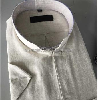 04cb30edb3c Бежевый льняной воротник стойка специальный buttonhole мужская повседневная  мужская классическая рубашка