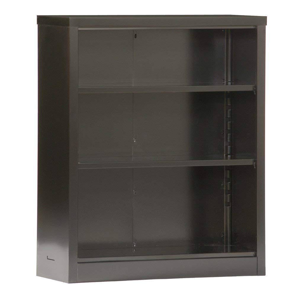 "Sandusky Lee BQ10351342-09 Black Steel Powder Coat Snapit Bookcase with 2 Adjustable Shelves, Fixed Bottom Shelf, 200 lb. Per Shelf Capacity, 42"" Height x 34-1/2"" Width x 13"" Depth"