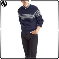 2017 Lasted design custom color winter knitted jacquard christmas man sweater