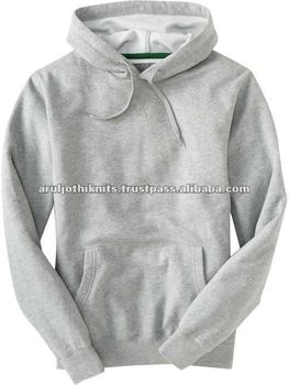 Men's Plain Grey Melange Pullover Hoodie - Buy Plain Solid ...