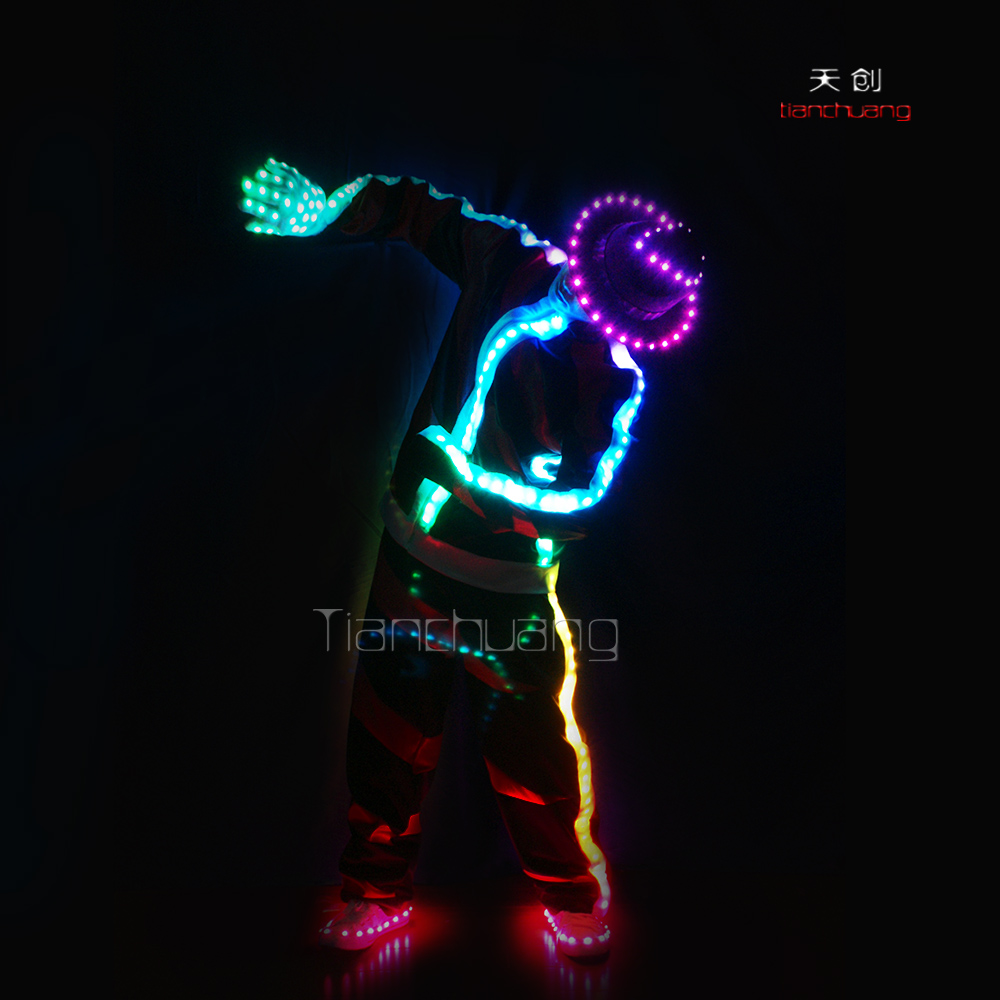 Programmable radiant LED Michael Jackson Dance costume with hat, gloves and shoes
