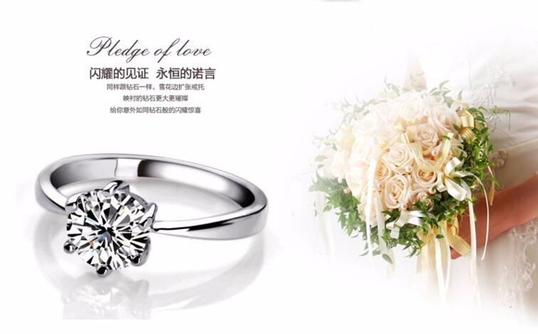 CZ wedding jewelry New 6 claws classic design large simulated diamond platinum wedding rings for women clear