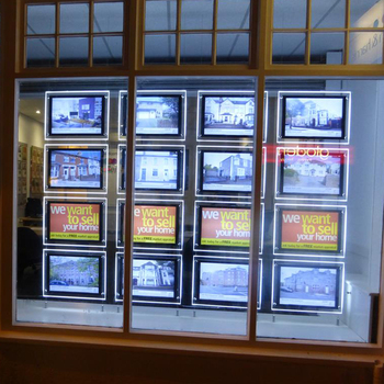 Suspended Real Estate LED Illuminated Window Displays Boards Signs